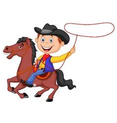 Cartoon cowboy rider on horse throwing lasso vector