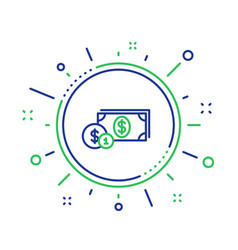 Cash money with coins line icon banking vector