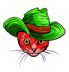 cat head cartoon style vector image