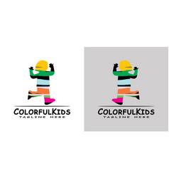 Children logo with colorful design kids logo vector