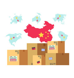 China map with flag and production in parcels vector