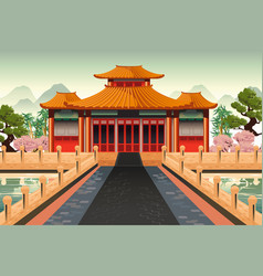 Chinese temple background vector
