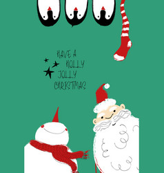 christmas card with santa snowman and penguins vector image