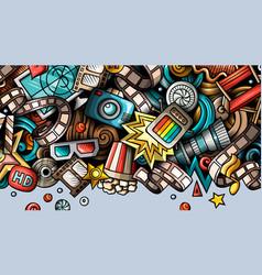 Cinema hand drawn doodle banner cartoon detailed vector