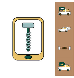 collection of icons and vehicle parts vector image
