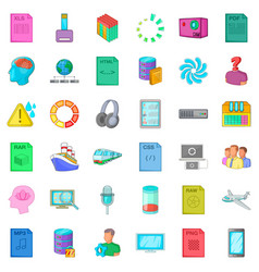 Computer file icons set cartoon style vector