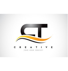Ct c t swoosh letter logo design with modern vector