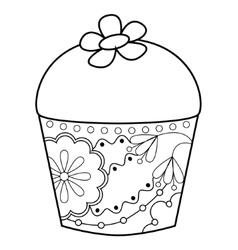 Cupcake coloring vector image vector image