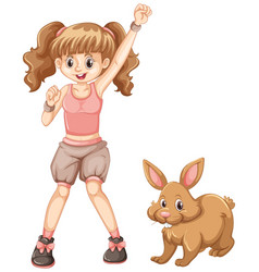 cute girl with brown bunny vector image