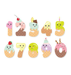 Cute kawaii numbers made of sweets Funny vector