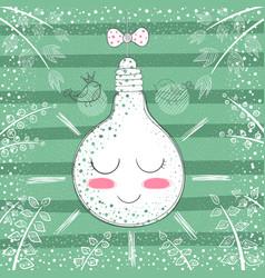 cute princess bulb - cartoon vector image
