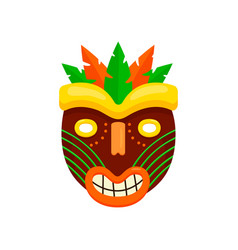 dark brown round african mask with ugly smiling vector image