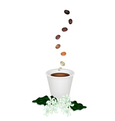 Delicious Disposable Coffee with Beans and Flower vector