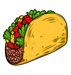 Delicious taco design element for poster card vector