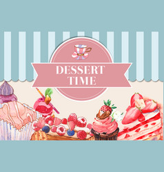 Dessert frame design with strawberry cake cupcake vector