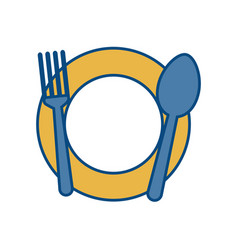 dish with fork and spoon icon vector image