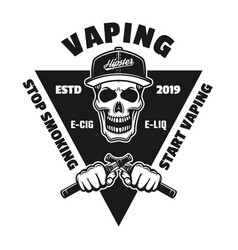 Emblem with skull and hands holding e-cigarettes vector