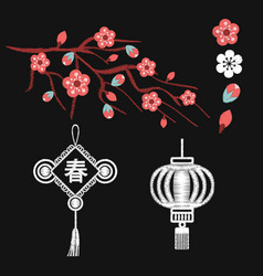 Embroidery blossoms branch cherry sakura tree vector