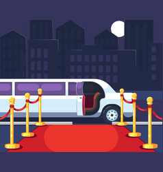 empty red event carpet with rope barrier luxury vector image