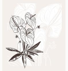 Engraved abstract flower background elegant vector