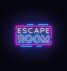 Escape room neon signs escape room design vector