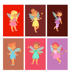 Fairies princess cards fairy girl character vector