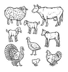 Farm animals detailed icon set outline style vector