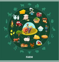 farm cartoon round composition vector image