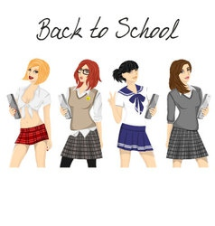 Fashionable school girl pack vector image