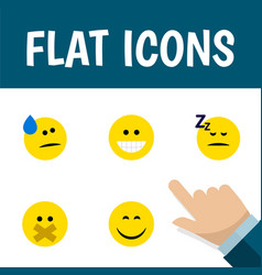 Flat icon emoji set of smile hush grin and other vector