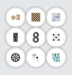 flat icon play set of ace bones game chess table vector image
