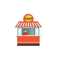 Flat street food kiosk with hamburger vector