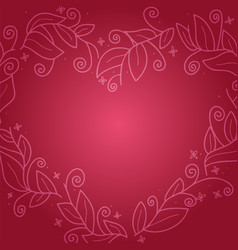 floral leaf wreath in shape heart for vector image