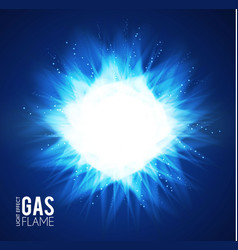 gas flame blue fire effect neon light on vector image