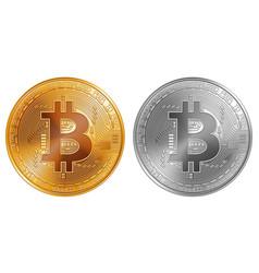 golden and silver bitcoin coins vector image