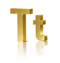 Golden letter t vector