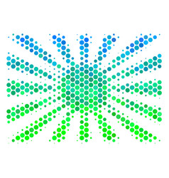 Halftone blue-green japanese rising sun icon vector