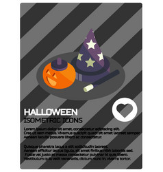 halloween color isometric poster vector image
