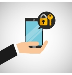 Hand holds smartphone padlock key vector
