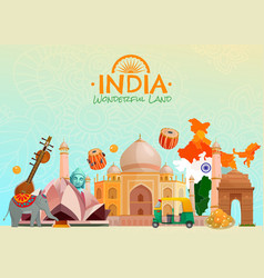 India travel poster vector