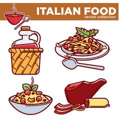 italian food collection delicious vector image