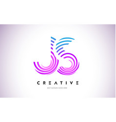 Js lines warp logo design letter icon made with vector