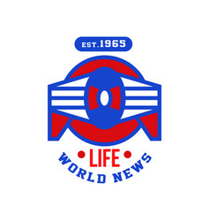 Life world news est 1965 social mass media emblem vector