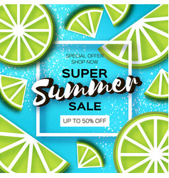 Lime super summer sale banner in paper cut style vector