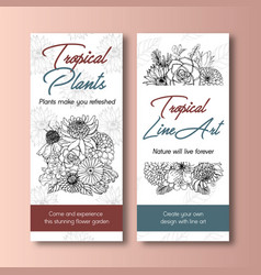 line art tropical flyer design for hotel vector image