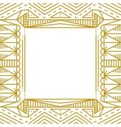 Linear simple frame with gold lines vector image