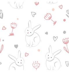 Little sweet bunny with spring flowers seamless vector