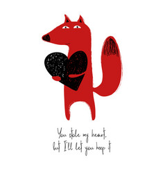 Love card with cute fox vector