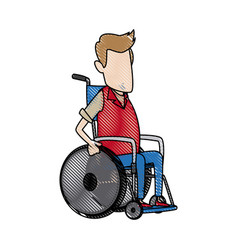 man character disabled sitting in wheelchair image vector image