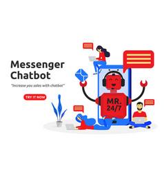 messenger chatbot concept modern flat design vector image